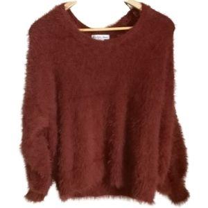 3/30$ Ocre Fuzzy Oversized Cosy Scoop Neck Sweater